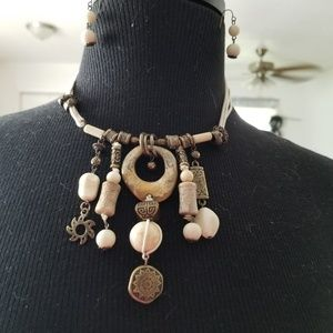 Off White  stone and beaded necklace with earrings